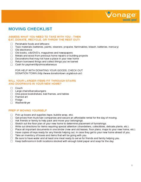 sle moving checklist house moving checklist sle free