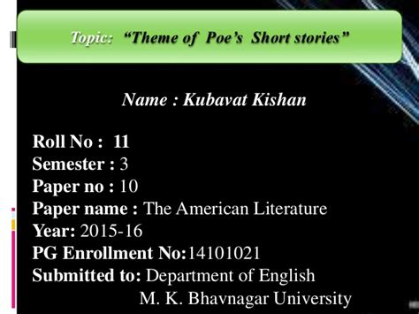 themes of a short story quot theme of poe s short stories quot