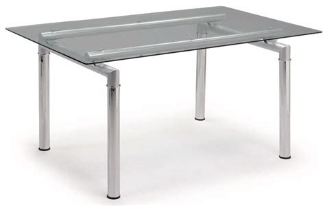 tempered glass dining table with chromed metal legs grand