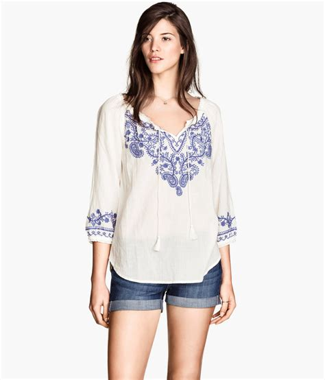 Hm Blouse White lyst h m bohemian embroidered blouse in white