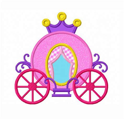 princess carriage applique machine embroidery design no 0090