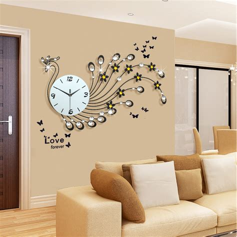 wall clocks for living room large peacock wall clock modern design living room wall