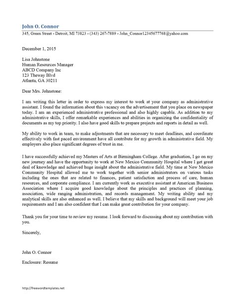 cover letter for administrative assistant exles administrative assistant cover letter