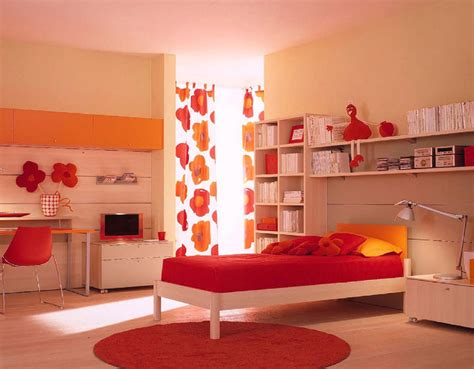 contemporary bedroom with red wall paint circle mirror choosing the kids bedroom furniture amaza design