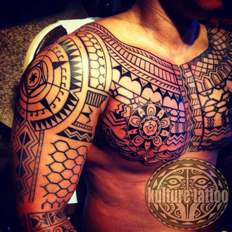 tribal chest piece tattoos tribal this chest and sleeve is an