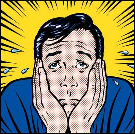 stock illustration worried man