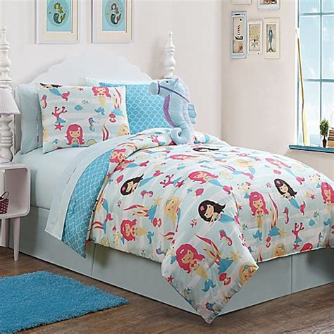 mermaid twin bedding buy mermaid 7 piece reversible twin comforter set in blue from bed bath beyond