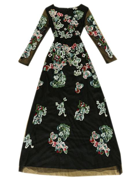 Sleeve Embroidery Dress limited edition black floral embroidery sleeves mesh
