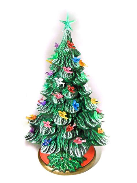 medium ceramic christmas tree 13 5 inches with base hand