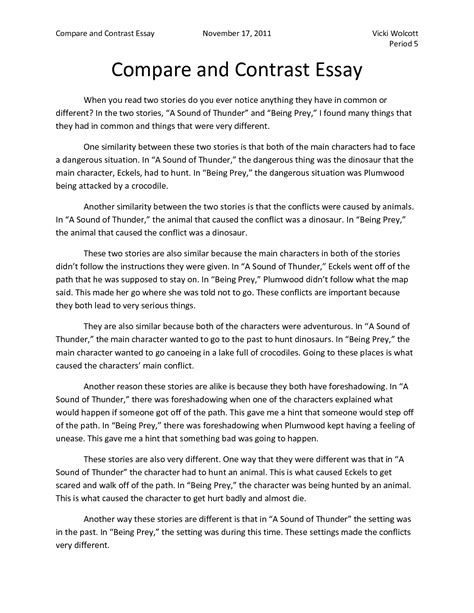 compare and contrast essay introduction sle compare and contrast essay introduction comparison and