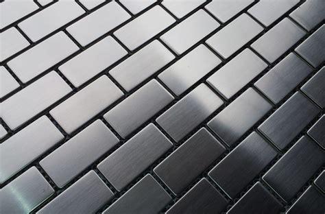 Steel Floor by 14 95sf Stainless Steel 1x2 Brick Metal Mosaic Tiles