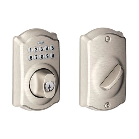 Keypad Front Door Locks Schlage Camelot Satin Nickel Keypad Deadbolt Be365 619 The Home Depot
