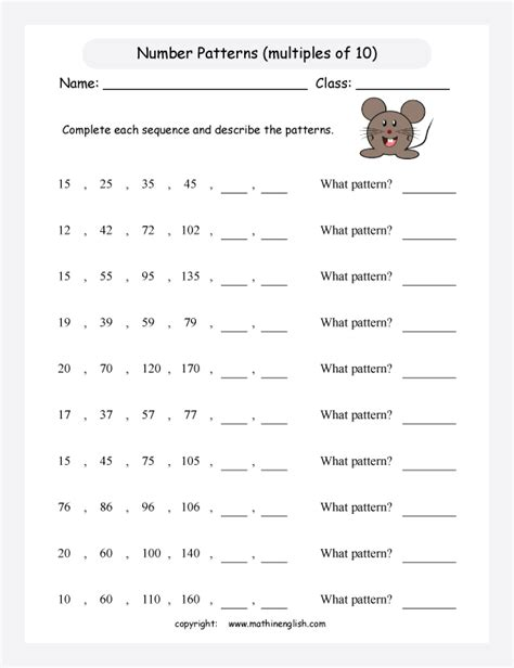 pattern worksheets grade 3 printable math worksheet grade 3 math patterns