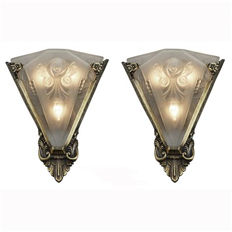 Vintage Wall Sconces Pair Of Large Wall Sconces Lighting With Antique Shades Ant 400 For Sale Antiques