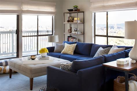 living room with blue sofa shocking l shaped sofa decorating ideas