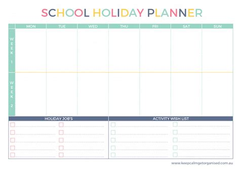 printable planner school school holiday boredom busters free printable holiday
