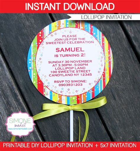 lollipop invitations template red