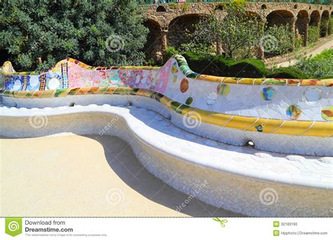 park guell bench ceramic bench in park guell in barcelona stock photo