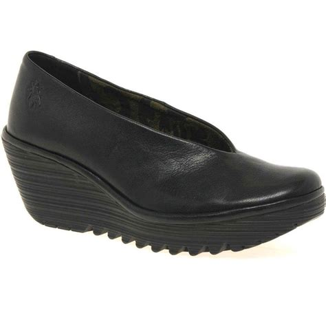 fly yaz shoes black leather wedges charles clinkard
