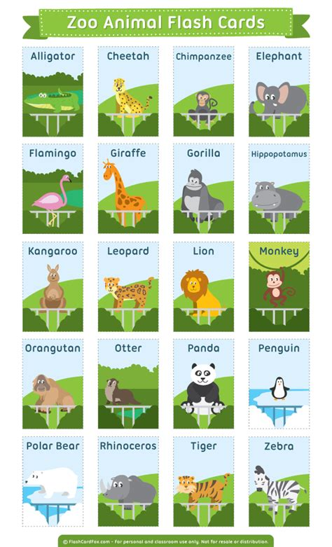 esl printable animal flashcards printable zoo animal flash cards