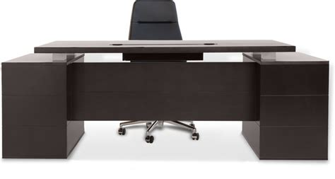 Zuri Furniture Ford Executive Desk with Cabinets   Dark