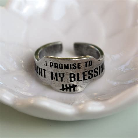 count my blessings engraved pewter vintage look promise ring