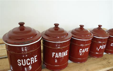 Enamel Kitchen Canisters by Vintage European Enamel Kitchen Canister Set