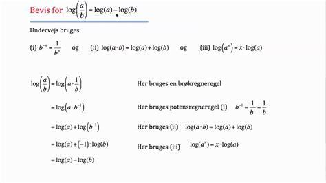 a b bevis for logaritmeregneregel log a b log a log b