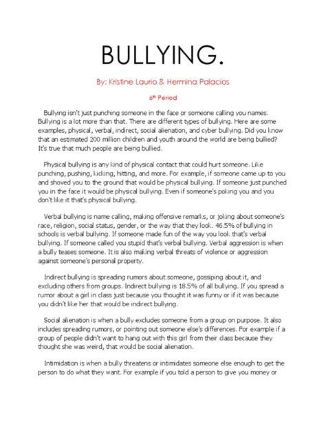 thesis statement about school bullying bullying essay topics yun56 co