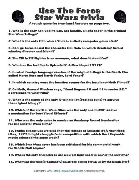 printable star wars trivia quiz pop culture games star wars use the force trivia 1 95