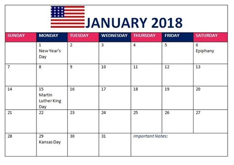 printable calendar 2018 with us holidays january 2018 calendar printable calendar templates