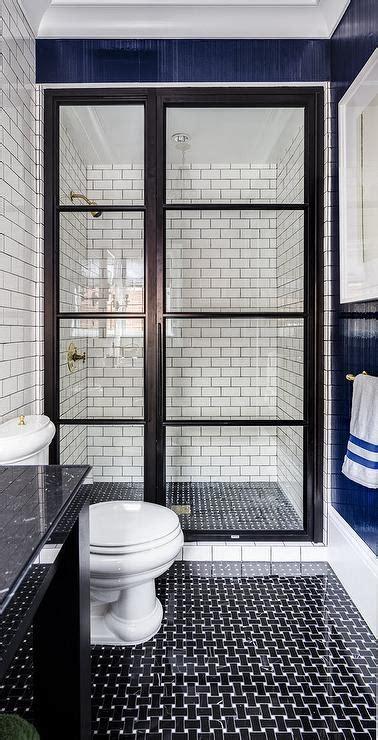 Framed Art For Dining Room by Bathroom With Black Basket Wave Tile Floor Contemporary