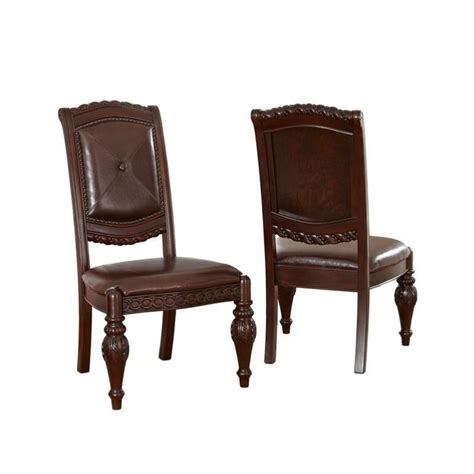Dining Chairs Cherry Steve Silver Company Antoinette Leather Dining Chair In Cherry Ay600s
