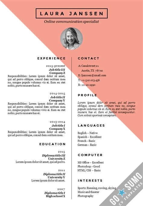 Templates In by Cv Resume Template Stockholm