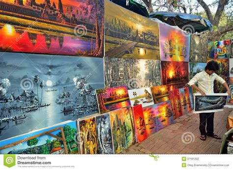 painting shop painting shop in angkor wat editorial image image 37191250