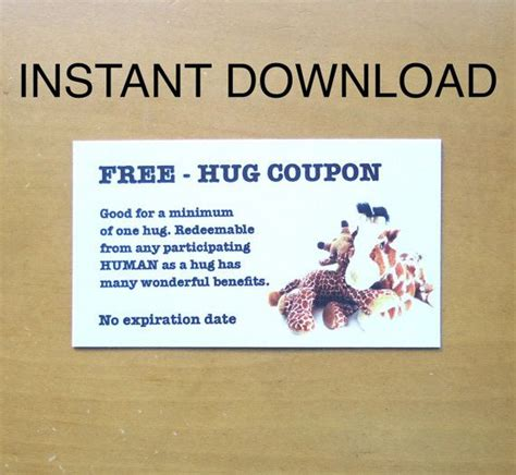 printable free hug coupons 11 best images about hug coupon other vouchers on pinterest