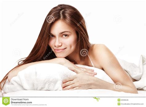 lying down in bed beautiful woman lying down in bed royalty free stock photo image 23335545
