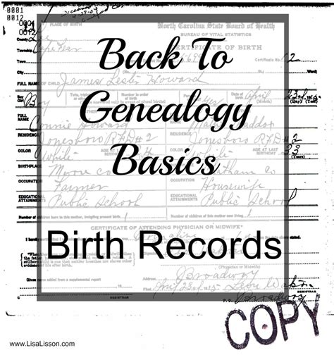 Births Records Back To Genealogy Basics Birth Records Are You My Cousin