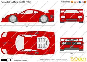 F40 Dimensions The Blueprints Vector Drawing F40 Le Mans