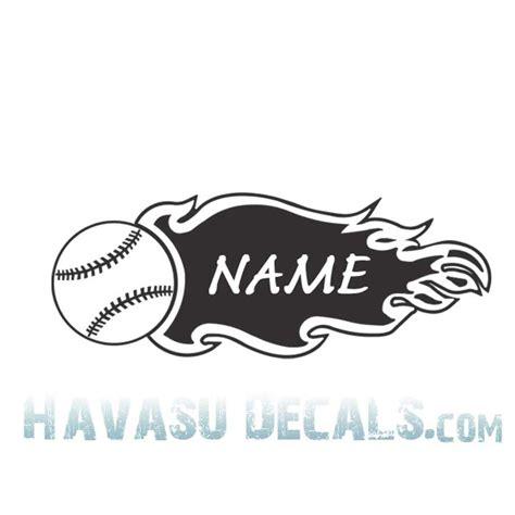 """Lasalle Softball   8""""Flaming Softball with name .. Softball Decal"""