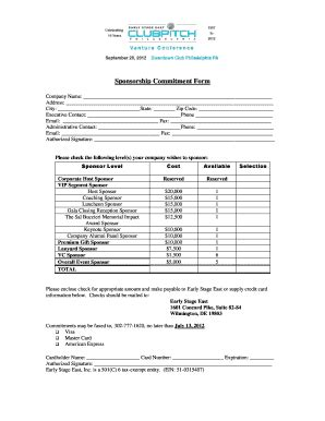 Sponsorship Letter Of Commitment Commitment Forms Sle Fill Printable Fillable Blank Pdffiller