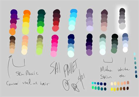 paint tool sai grayscale to color sai color pallet chart by darkly1 on deviantart