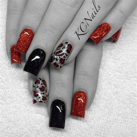 black and red love pattern fake nails japanese cute false red black silver leopard print acrylic nails kcnails