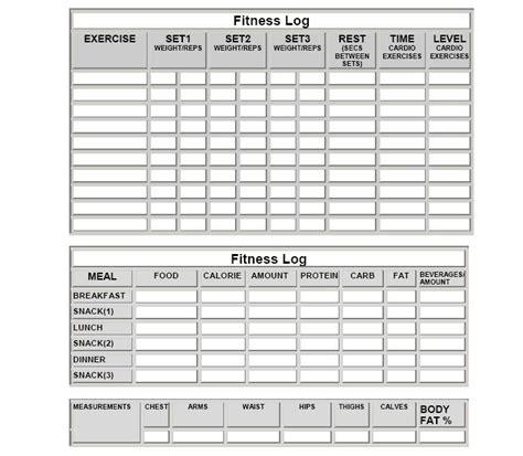 printable meal plan log printable exercise log free printable workout log sheets