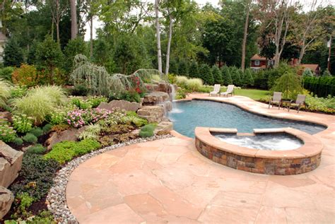backyard pool patio ideas natural stone patio wall design for pools landscaping nj