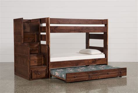 Sedona Twin Twin Bunk Bed W Trundle Mattress Stair Chest Bunk Bed W Trundle