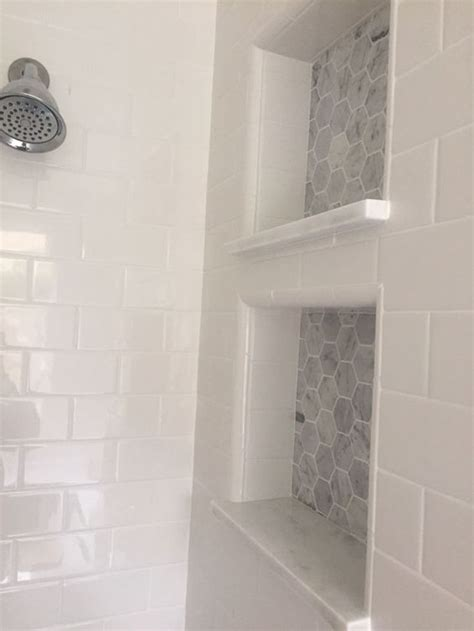 bathroom niche ideas white subway tiles built ins and tiles on