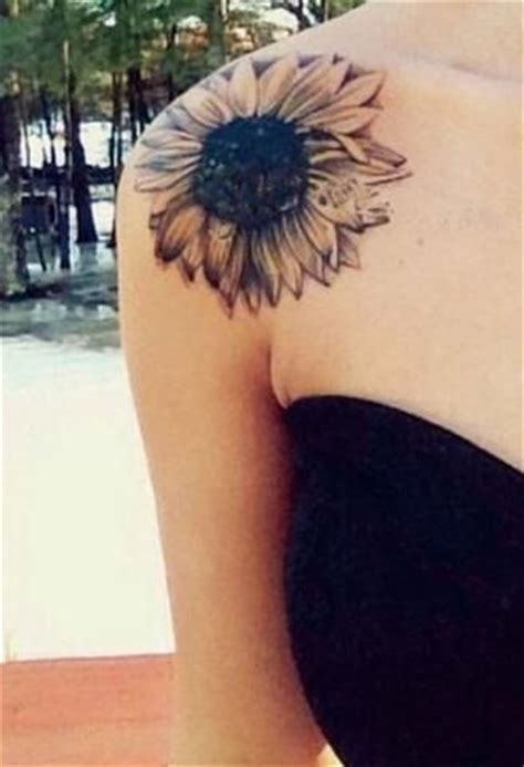 Sunflower Tattoo Images Designs Black And White Sunflower Shoulder
