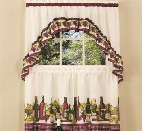 wine themed kitchen curtains with wine bottle prints