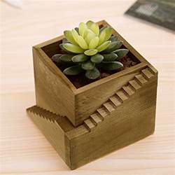 modern wood staircase design cube planter box small